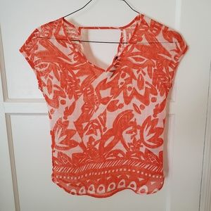 THE LIMITED Orange & White Sheer Blouse Size XS
